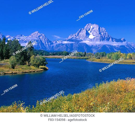 Oxbow Bend on Snake River and Teton Range. Grand Teton National Park. Wyoming. USA