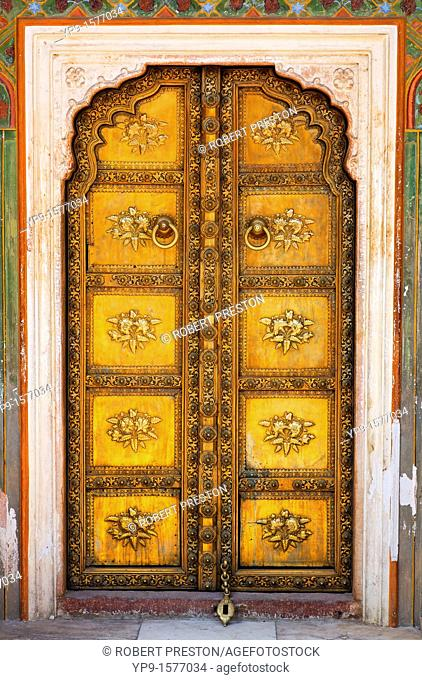 Ornate doorway in the Peacock Courtyard inside the City Palace complex, Jaipur, Rajasthan, India