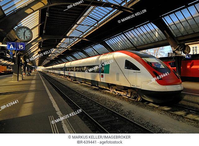 Zuerich - central station - the InterCity Tilting Train RABDe 500 - Switzerland, Europe