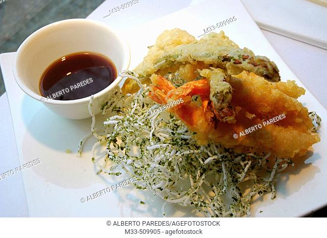 Tempura Moriawase (Assortment of Shrimp and Vegetable Tempura).'Riba-Sushi Bar'. Girona, Catalonia , Spain