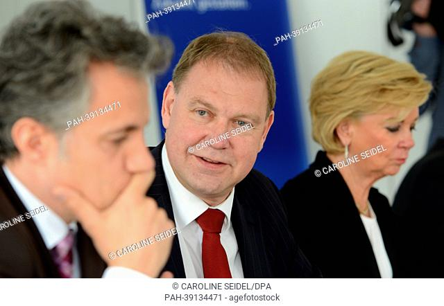 Member of the Board Joerg Draeger (L-R), Chairman Aart De Geus and member of the Board Liz Mohn from the Bertelsmann Foundation sit next to each other during a...