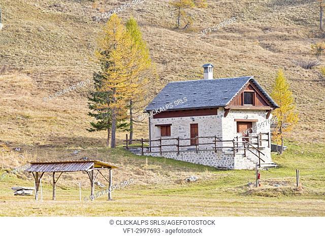 Typical mountain house in Alpe Devero, Alpe Veglia and Alpe Devero Natural Park, Baceno, Verbano Cusio Ossola province, Piedmont, Italy