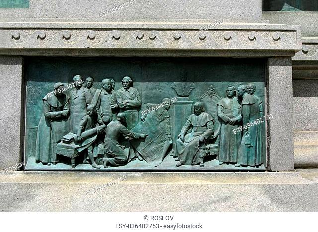 The monument of Louis-Philippe Hebert located in front of Mary, Queen of the World Cathedral in Montreal, Quebec, Canada