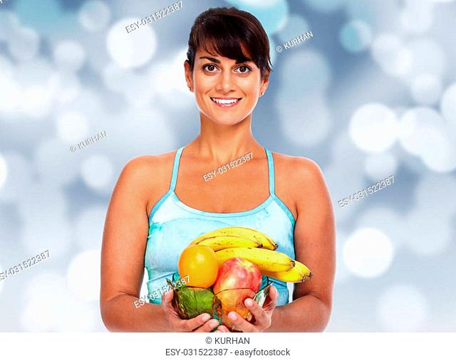 Young asian woman with fruits. Healthy diet and weight loss
