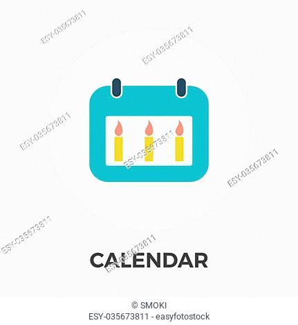 Calendar. Single flat icon on the button. Vector illustration
