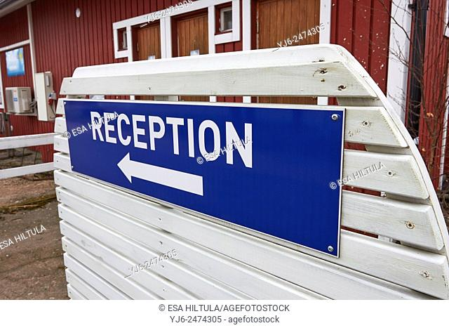 Reception sign at Hamina harbour, Finland