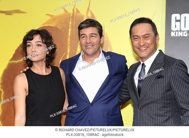 """Kyle Chandler (r), daughter Sydney Chandler02 and Ken Watanabe at the Warner Brothers Pictures World Premiere of """"""""Godzilla King Of The Monsters"""""""""""