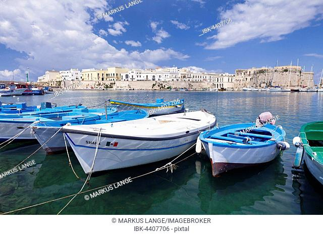 Fishing boats in harbor with View of the historic centre with castle, Gallipoli, Province of Lecce, Salentine peninsula, Apulia, Italy