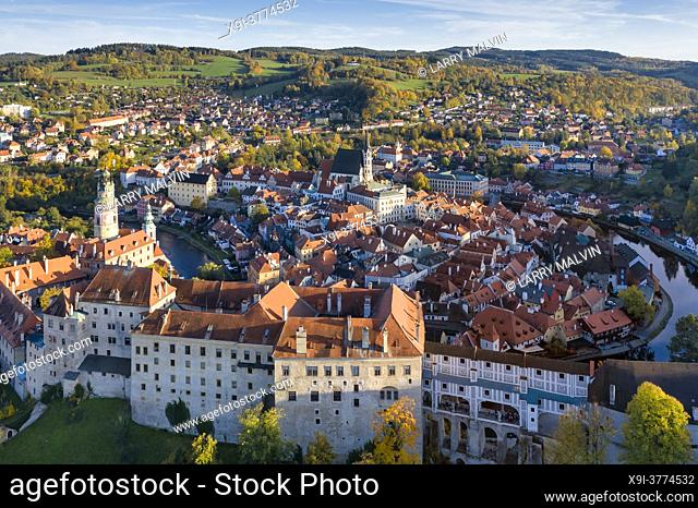 Late afternoon aerial view of the picturesque, fairy tale town of Cesky Krumlov, a UNESCO-designated World Heritage Site in the South Bohemia region of the...