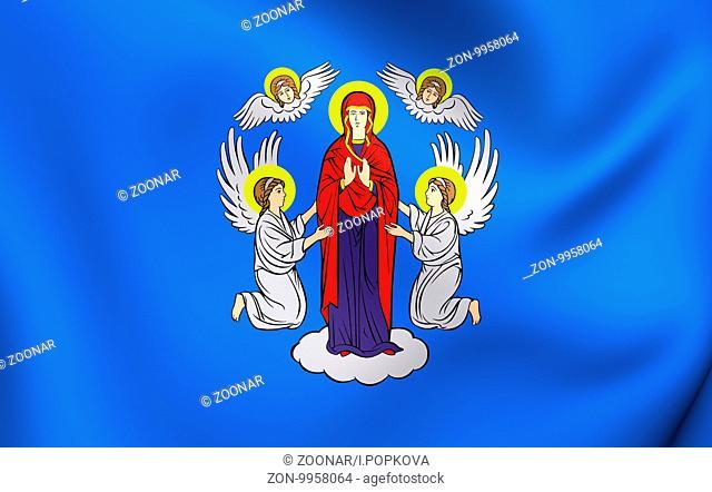 3D Flag of the Minsk, Belarus. Close Up