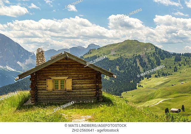 Cottage in the Dolomites in Col Raiser area, mountains in the background, Selva, Val Gardena, Italy