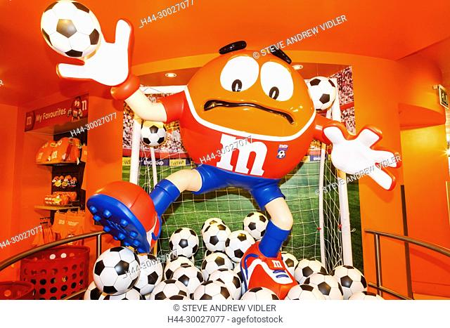 England, London, Leicester Square, M&M Store, M&M Soccer Goal Keeper