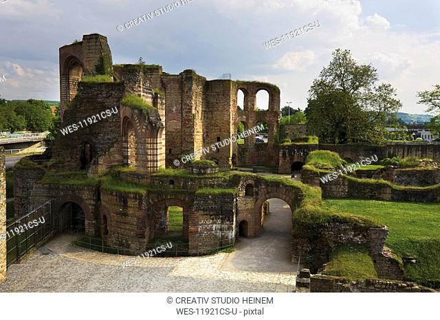 Germany, Rhineland-Palatinate, Treves, Ruins of an imperial thermal bath, elevated view