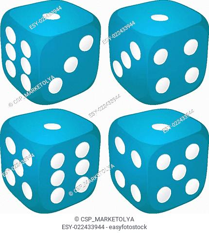 Set of blue casino craps, dices with one point, dot number on top, vector illustration