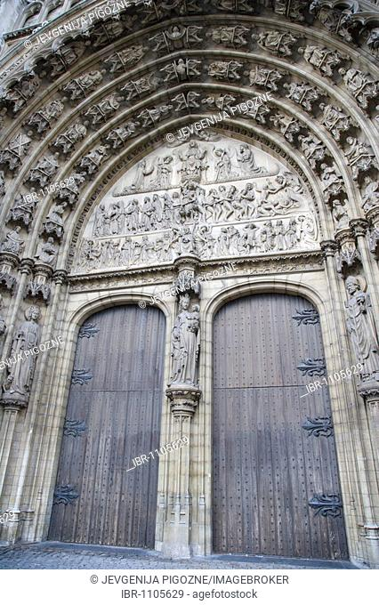 Door and entrance of Onze-Lieve-Vrouwekathedraal, Cathedral of Our Lady, Antwerp, Belgium