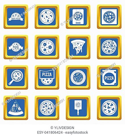 Pizza icons set in blue color isolated illustration for web and any design