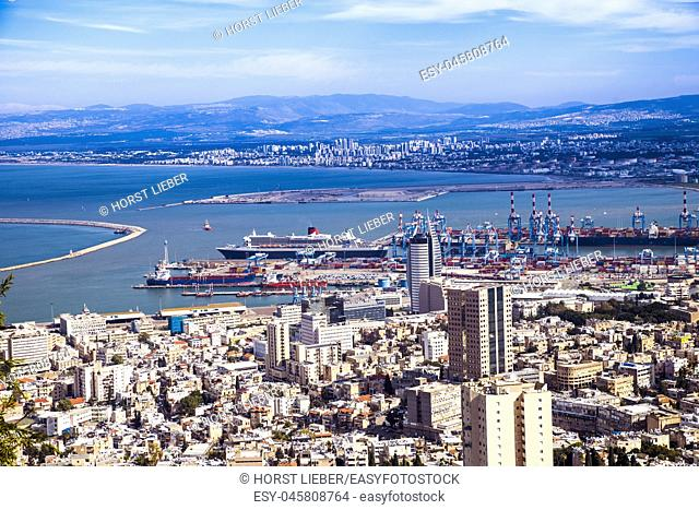 Panoramic view from Mount Carmel to cityscape and port in Haifa, Israel, Middle East
