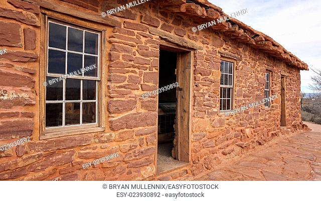 Pioneer cabin built from sandstone at Pipe Spring National Monument in Arizona