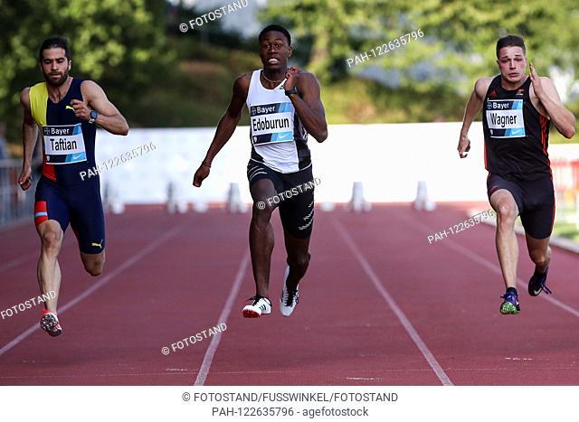 Leverkusen, Germany July 24, 2019: Athletics - Bayer Classics - 2019 v.li. Hassan Taftian (IRI), Ojie Edoburun (GBR), Julian Wagner (LAC Erfurt) | usage...