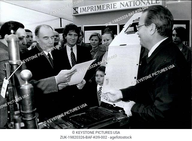 Mar. 26, 1982 - The exhibition will be held until March 31st. It is a temple of culture . . . Mitterrand is looking at a parchment from the National Printing...
