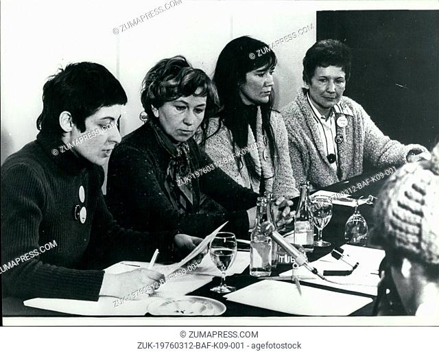 Mar. 12, 1976 - The First International Tribunal of Crimes Against Women held in Brussels: The five day conference, which Brought together more than 1