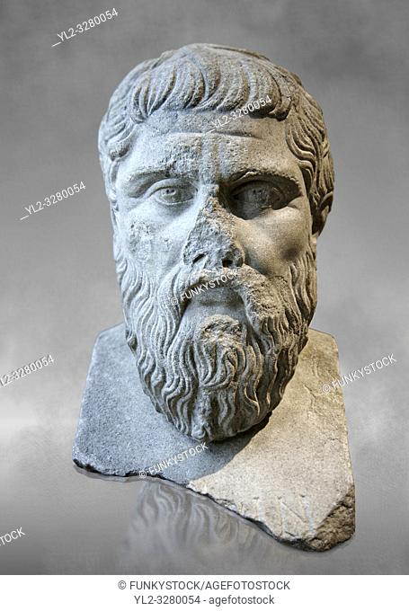 Bust of Greek Philosopher Plato. A 2nd century AD Roman sculpture in marble. In 423-348 BC Greek sculptor Silanion created a bronze bust of Plato to adorn the...