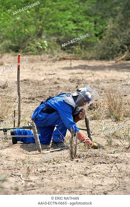 Manual deminer searching by hand for unexploded ordnance in suspected minefields in the Gaza province of Mozambique