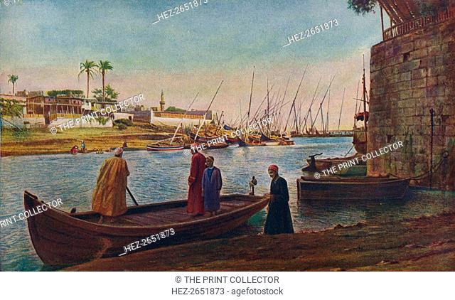 'Cairo. Whether moving along the water with lateen sails outspread, or moored with bare poles by the shore, the feluccas of the Nile provide an artistically...
