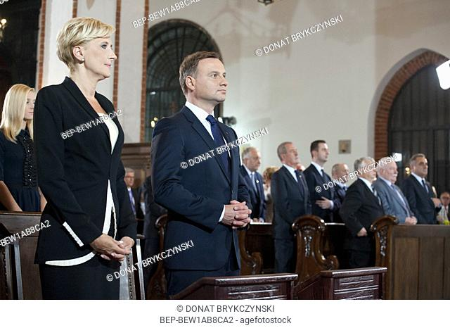 Aug. 6, 2015 Warsaw, presidential inauguration in Poland: Andrzej Duda sworn in as new Polish president. Holy mass at the Saint John's Warsaw Archsee