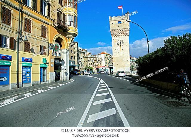 Torre Leon Pancaldo background, Savona, Liguria, italy