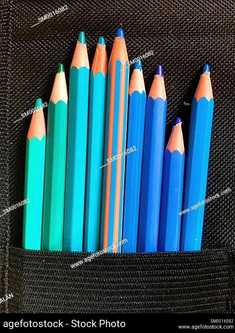 Blue color pencils