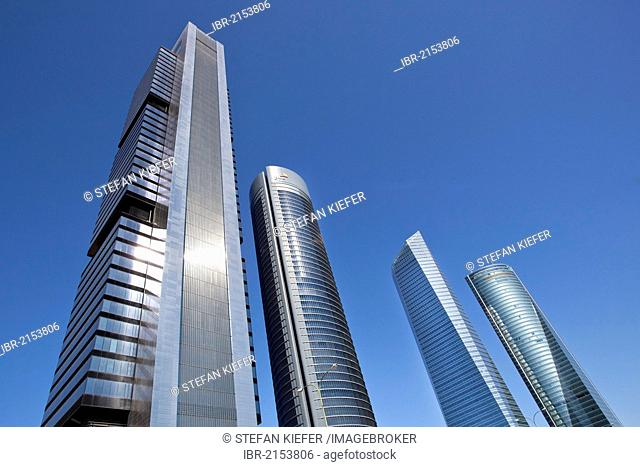 Cuatro Torres Business Centre, CTBC, with the tower of Torre Caja Madrid, left, headquarters of the Spanish bank Caja Madrid, with 249