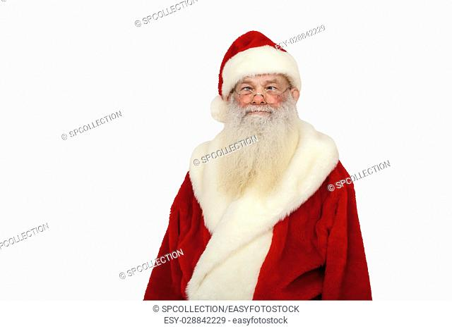 Santa Claus with real beard looks crazy (isolated)