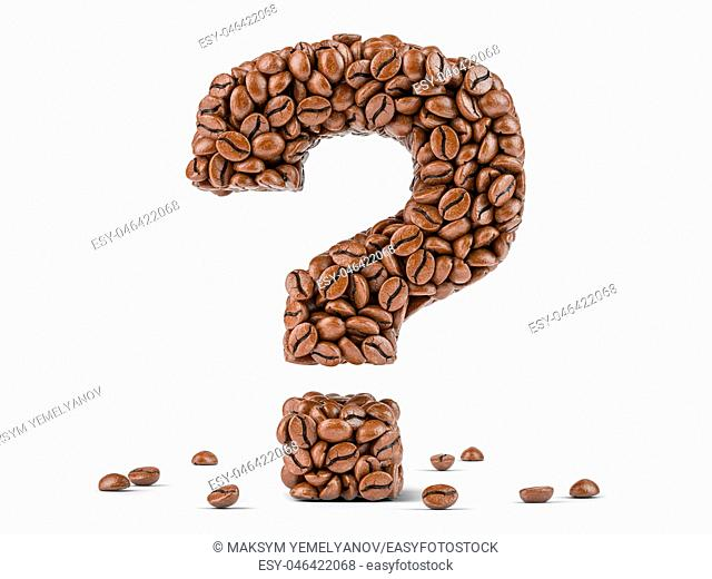 Question mark created from coffee beans isolated on white background. 3d illustration