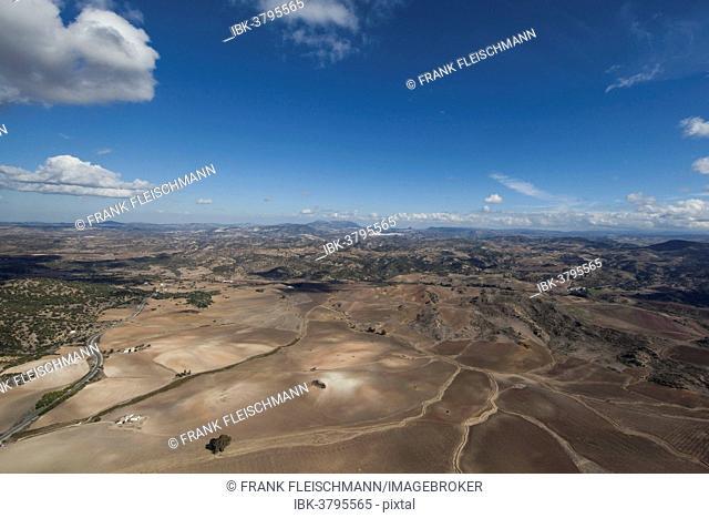 Aerial view, barren landscape in the Sierra de Cádiz, Andalusia, Spain