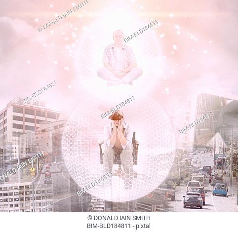 Caucasian man floating in bubble exploring virtual city