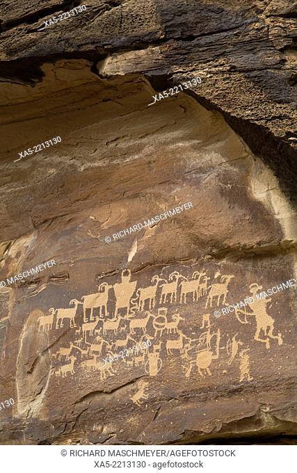USA, Utah, Cottonwood Canyon near the juction of Nine Mile Canyon, The Great Hunt Panel, Fremont style petroglyphs, AD 700 - AD 1200