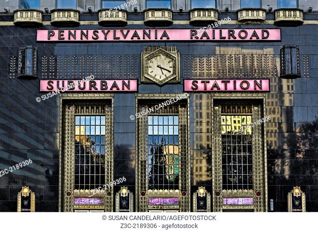 The art deco facade of the Pennsylvania Railroad Suburban Station in the late afternoon. The Suburban Station is an underground commuter rail station in the...