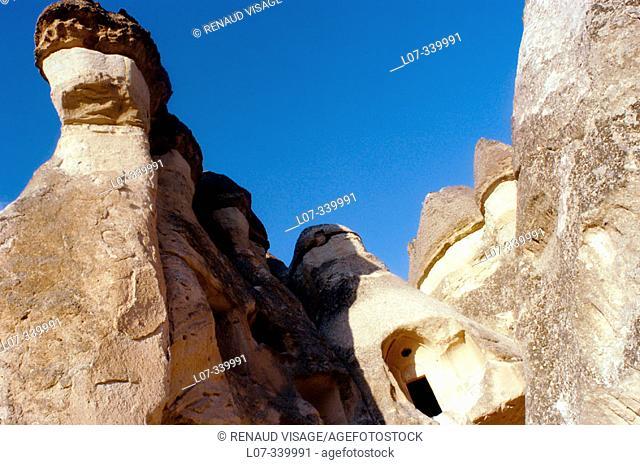 Mushroom like rock formations at Pasabagi. Zelve, Cappadocia. Turkey