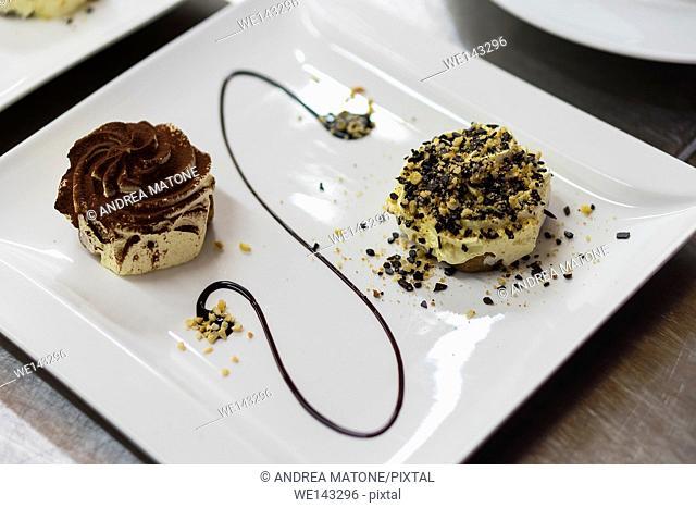 Whipped cream small cake desserts