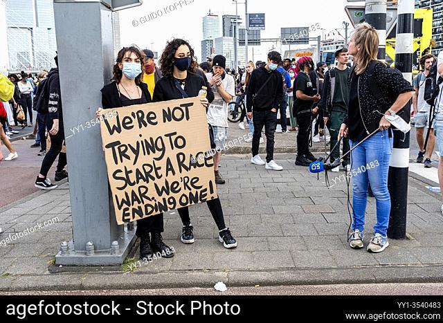 Rotterdam, Netherlands. Black Lives Mstter Demonstration at Down Town Erasmusbrug, to Protest against Police Violence & Racism
