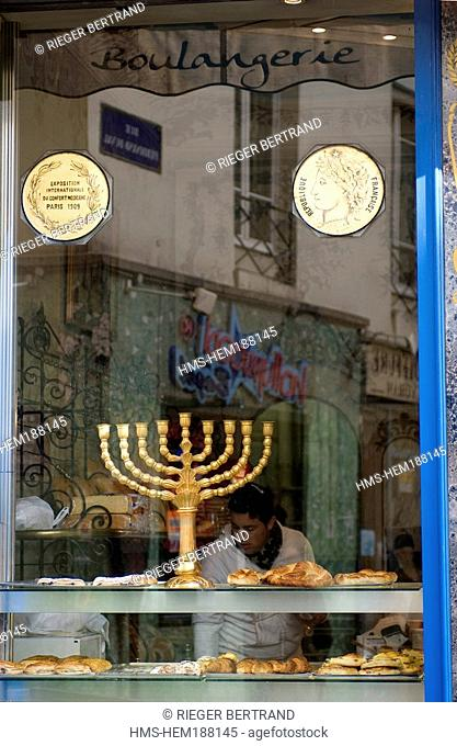 France, Paris, Rue des Rosiers in the Jewish District, Murciano Bakery shop window