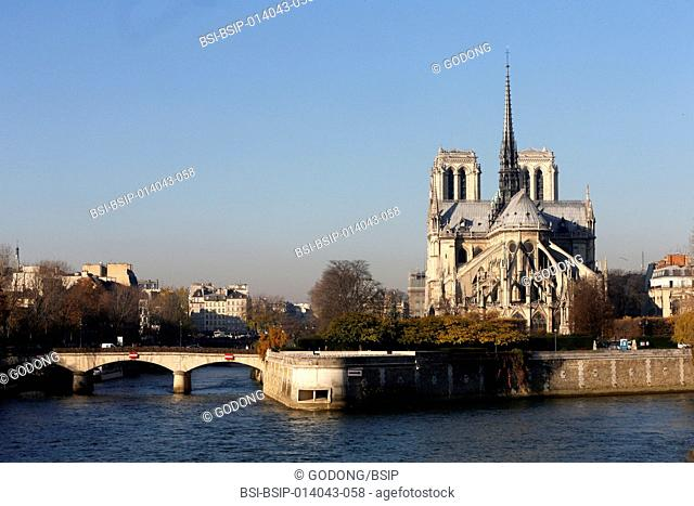 Paris. The seine river. Notre Dame Cathedral