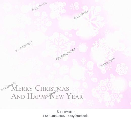 Light Christmas postcard with white snowflakes on pink rose background