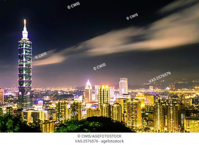 Taipei, Taiwan - Night view of Taipei City and 101 Tower from Elephant mountain