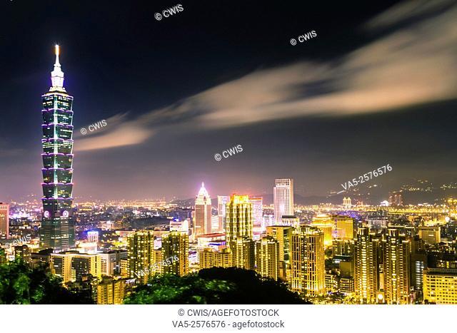 Taipei, Taiwan - Night view of Taipei City and 101 Tower from Elephant mountain