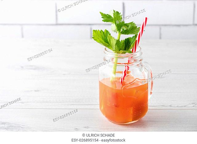 Fresh home made bloody mary cocktails with celery
