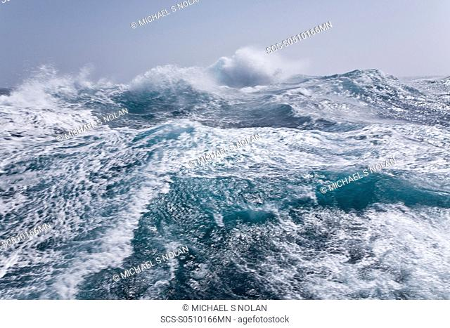 Views of rough seas in the Bransfield Strait 6380' S 5980' W, a body of water about 60 miles wide extending for 200 miles in a general northeast-southwest...