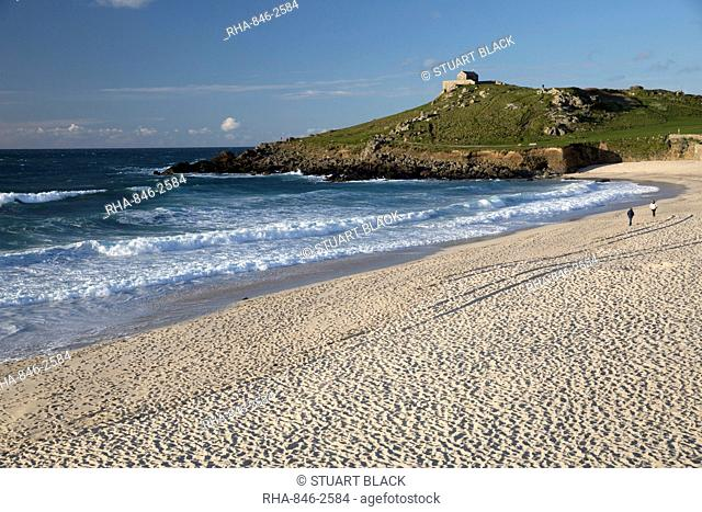 Porthmeor beach and St. Nicholas chapel, St. Ives, Cornwall, England, United Kingdom, Europe