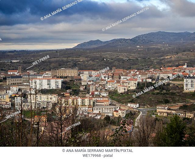 Aerial view of the mountain village Bejar (Salamanca)